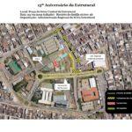 #pracegover imagem mostra mapa de interdição da via que passa em frente à Praça Central, da Cidade Estrutural para a comemoração dos 15 anos da cidade.