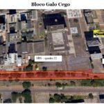 #pracegover imagem mostra o mapa Na quadra 2 do Setor Bancário Sul, o trânsito será impactado pelo Bloco Galo Cego, com concentração de foliões em frente ao Bar do Calaf, no sábado (23), das 14h às 21h.