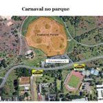 #pracegover mapa de interestacionamento 9 do Parque da Cidade ficará interditado das 14h de sábado (23) às 2h de domingo (24), em razão do evento Carnaval do Parque, que acontecerá na Praça das Fontes